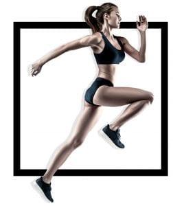 sporty girl running in fitness attire