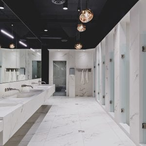modern marble gym shower, bathroom and sink