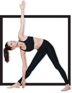 woman in gym apparel stretching