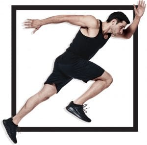 man running in black fitness apparel