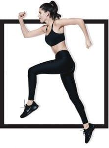 woman model in fitness apparel running