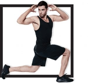 male fitness model stretching before gym workout
