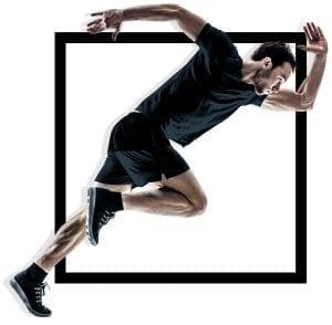 man model in fitness apparel running
