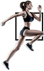 sporty woman in fitness apparel running