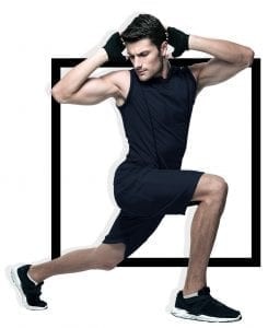 sporty male in fitness attire stretching